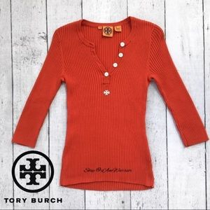 Tory Burch ribbed henley sweater top